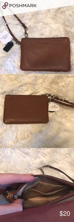 Coach wristlet genuine browth leather wristlet with card slots inside. never used. Coach Bags Clutches & Wristlets