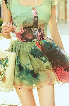 A watercolor dress. Need it to be knee length, would love love love it! Cute Dresses, Beautiful Dresses, Gorgeous Dress, Women's Dresses, Beautiful Things, Beautiful People, Rock And Roll, Harajuku, Watercolor Dress