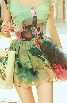 Spring outfit. A watercolor dress. Beautiful.. Need it to be knee length, would love love love it!