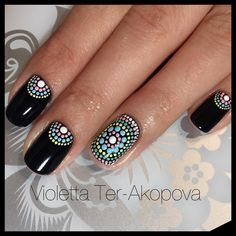 These Intricate Dotticure Manicures Will Have You Dashing to the Salon - Unhas Francesinhas para inspirar, veja mais de 35 modelos no site - Fancy Nails, Diy Nails, Cute Nails, Dot Nail Designs, Nail Art Designs Videos, Mandala Nails, Dot Nail Art, Nail Art Dotting Tool, Polka Dot Nails