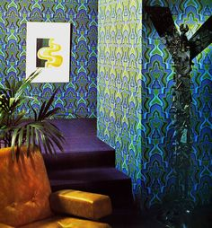 LOVE this wallpaper for an accent wall or closet.  Blue, Green Phoenix Vintage Wallpaper   designyourwall.com