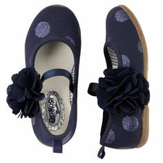 Polka Dot Ballet Flats for little girls.......with silk flower