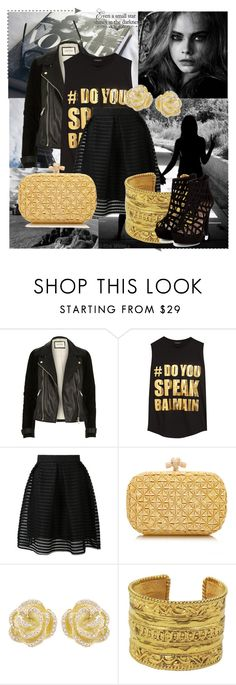 """Untitled #129"" by maaliya on Polyvore featuring River Island, Balmain, Bottega Veneta, Effy Jewelry, Chanel, gold, paris, black, rock and caradelevigne"