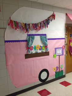 "Classroom camping decoration... the classroom door is the ""camper door.""  And take a look at the cute awning!"