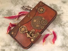 Personalized leather iPhone 6 casesteampunk by PapyrusCrafts