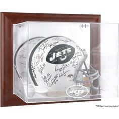 New York Jets Fanatics Authentic Brown Framed Wall-Mountable Logo Helmet Case - $149.99