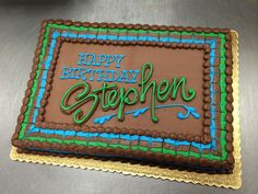 Chocolate Masculine Sheet Cake by Stephanie Dillon, LS1 Hy-Vee