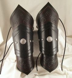 Two Tone Leather Vambraces / Armor $140.00