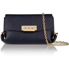 ZAC Zac Posen Eartha leather shoulder bag (615 BRL) ❤ liked on Polyvore featuring bags, handbags, shoulder bags, blue, blue purse, leather purses, blue leather shoulder bag, shoulder handbags and handbag purse