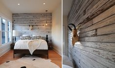 Love this weathered wall! And the bull skull for a little Southwest flare. A pretty little modern bedroom.