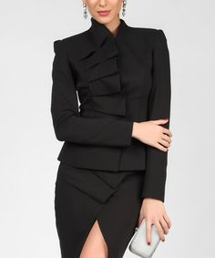 d40773cd79 Another great find on Isabel by Rozarancio Black Asymmetrical Ruffle Collar  Crop Blazer by Isabel by Rozarancio