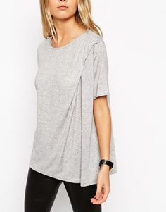 T-Shirt with Twist Detail in Neppy