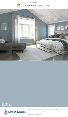 I found this color with ColorSnap® Visualizer for iPhone by Sherwin-Williams: Dockside Blue (SW 7601).