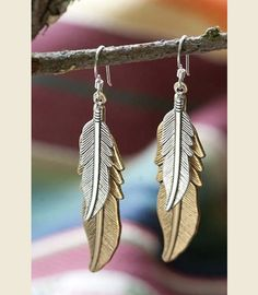 THe Sonoma Feather earrings MIXED METAL FEATHER EARRING - Junk GYpSy co.