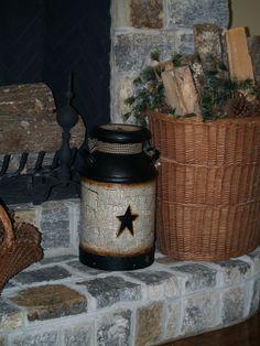 Country Farm House, Handpainted Primitive Star Antique Milk Jug! Amazing!! | eBay
