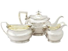 Sterling Silver Three Piece Tea Service with Matching Tea Pot Stand - Antique George III  SKU: A3384 Price  GBP £2,595.00  http://www.acsilver.co.uk/shop/pc/Sterling-Silver-Three-Piece-Tea-Service-with-Matching-Tea-Pot-Stand-Antique-George-III-96p3642.htm#.VjnwrCs8rfc