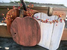 Rustic Pallet Wood pumpkin set fall porch entryway home decor in orange and white by PolishedExpression on Etsy https://www.etsy.com/listing/163490451/rustic-pallet-wood-pumpkin-set-fall