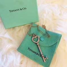 """[tiffany & co.] 2"""" heart key pendant and chain 2 in. sterling silver original Tiffany Keys collection Heart Key Pendant and original 16 in. chain. In perfect condition- worn once! Comes with Tiffany box and jewelry pouch. Tiffany & Co. Jewelry Necklaces"""