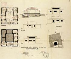 """Georg Muche, Baugesuch für das """"Haus Am Horn"""". Entwurfsplan, 1923"""