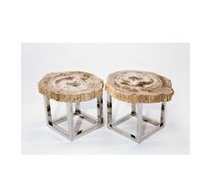 Chista - Stone Slice 7 Stone Slice 7 tables in petrified wood with stainless-steel bases by Chista