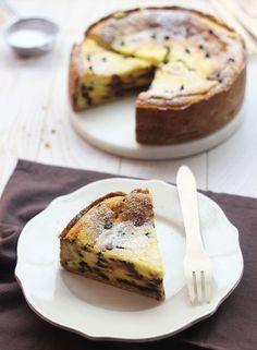 Une délicieuse torta au fromage frais, vanille et chocolat, à déguster pour le goûter...