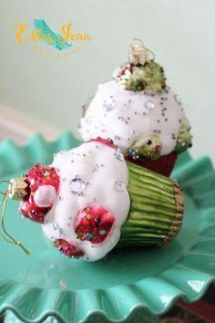 Christmas decor, ornaments, cupcakes, vignette, holidays