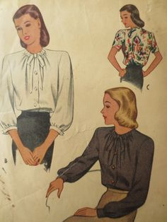 Vintage McCall 6412 Sewing Pattern, 1940s Blouse Pattern, Gathered Neckline,1940s Sewing Pattern, Bust 30, Sleeve Variations, Vintage Sewing