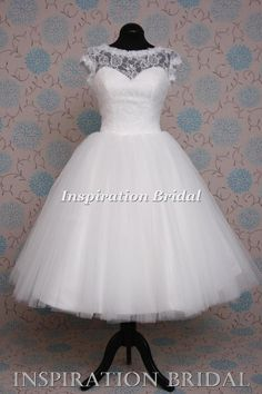 1374 1950s 1960s short tea length knee wedding dress lace top made to measure | eBay