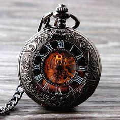 New Cool Hand Wind Mechanical Pocket Watch Skeleton Watches Fashion Men Watch Vintage Pocket Watch