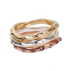 3 pc Gold Silver Copper Wavy Ring Set, $4.50