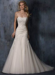 Fit and Flare Lace Wedding Dress Brush Train Ivory Tulle Bridal gown