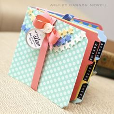 diy recipe file folder mini scrapbook | mini album by Ashley Cannon Newell. love the yummy colors she used.