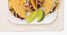 Tacos végétariens Vegetarian Tacos, Vegetarian Recipes, Tofu, Ricardo Recipe, Green Cabbage, Mets, Coleslaw, Cheddar Cheese, Hot Sauce