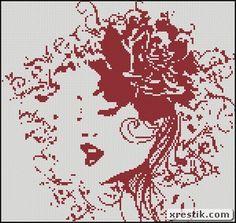 Rosette scheme download girl monochrome embroidery