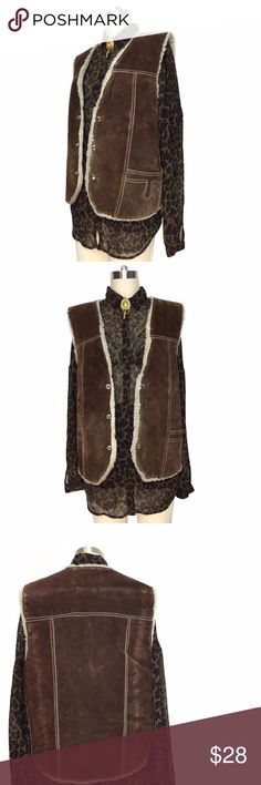 GENUINE LEATHER VINTAGE VEST WITH SHEARLING INSIDE GENUINE LEATHER VINTAGE VEST WITH SHEARLING INSIDE!!! Amazing vintage find! Beautiful brown leather that is aged to perfection! Fun piece to STYLE!!! Vintage Jackets & Coats Vests