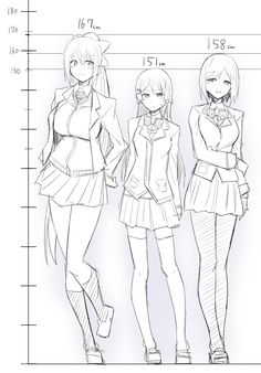 Anime girls in CM measurements of height. Drawing Anime Bodies, Anime Girl Drawings, Pencil Drawings, Drawing Body Poses, Human Body Drawing, Manga Drawing Tutorials, Anime Poses Reference, Poses References, Anime Sketch
