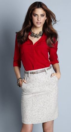 Tweed Pencil Skirt; business attire, work attire, not sure about the red shirt, but the outfit looks nice