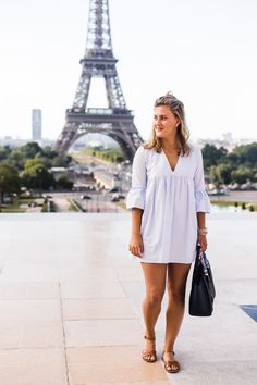 Blue Romper at the Eiffel Tower, a fashion post with a Celine purse and an hermes twilly on Sweetly Sally