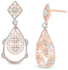 36c31667331ec 1 2 CT. T.W. Diamond Lattice Double Pear-Shaped Drop Earrings in 10K Rose  Gold
