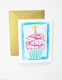 Birthday Cupcake Card Birthday Cards Happy by MospensStudio