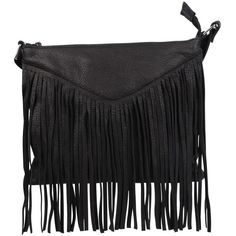 Cut N Paste Payton ($129) ❤ liked on Polyvore featuring bags, handbags, shoulder bags, black, leather fringe purse, black crossbody purse, leather handbags, fringe crossbody and black purse