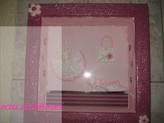 quadro para quarto de menina com apliques em resina e flores