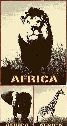 África,animales,silueta