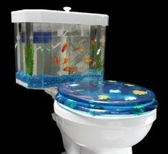 The Fish 'n Flush is a clear two-piece toilet tank that replaces a standard toilet tank and cleverly contains a fully functioning aquarium inside.  The Fish-n-Flush aquarium toilet tank fits most toilets and operates as a conventional interior tank.  The aquarium will accept fresh or salt,  and warm tropical water and can also be used as a terrarium.  In addition, the 2.2-gallon aquarium piece can be easily removed for cleaning without obstructing the toilet from working.  (more...)