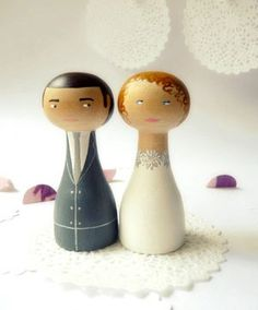Personalized Wedding Cake Topper - Wooden art doll hand painted