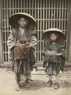 Child beggars.  Late 19th century, Japan.  Hand-colored photo