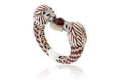"""Perfect for Pantone's 2015 Color of the Year—Marsala: """"Adoring Scarlett Lions Bracelet"""" featuring red spinels, spessartite garnets, orange sapphires and diamonds set in palladium and yellow gold by Zorab Creation, San Diego, Calif."""