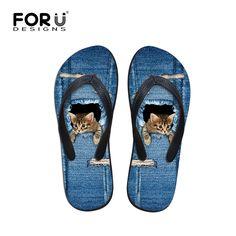 Verano Jeans 3D Cat Women de Flip Flops mujeres sandalias para pisos zapatillas sandalias de playa moda para mujer zapatos Sapato Feminino en Sandalias de las mujeres de Zapatos en AliExpress.com   Alibaba Group