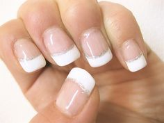 gel nail / french*. >>> French nail with glitter strip or just French