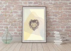 Watercolour fox A3 poster Instant Digital Download Light Colours Hand Drawn Fox Subtle Wall Art Light Colors, Colours, Mandala, Watercolor Fox, How To Draw Hands, Unique Jewelry, Wall Art, Handmade Gifts, A3